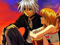 Rave Master. I'd seen the OVA Fairy Tail episode with these two and other Rave Master characters in it, but I didn't know anything about them. I was confused, but liked them. I just finished the first episode of Rave Master (english dubbed, which sounds terrible) and I liked it, but not nearly as well as Fairy Tail.
