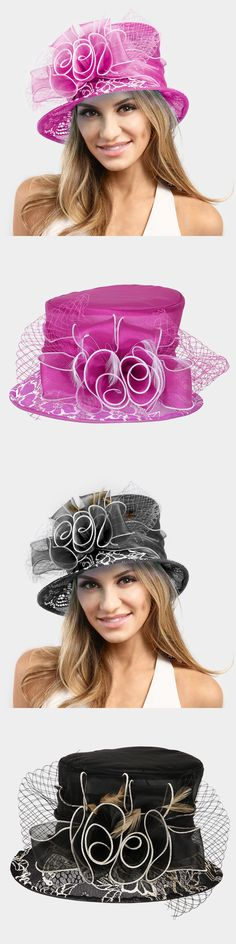 Women Formal Hats: Womens Ruffle Organza Bow Feather Hat Wedding Church Derby - Usa Seller -> BUY IT NOW ONLY: $44 on eBay!