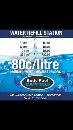 COME REFILL your own Container FOR LESS @80 c per liter. BODY FUEL EXPRESS DURBANVILLE