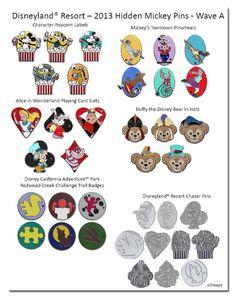 2013 Disneyland Resort Hidden Mickey Pins - Wave A