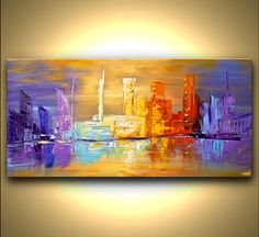 ORIGINAL Abstract City Painting Modern 48 x 24 by OsnatFineArt, $450.00