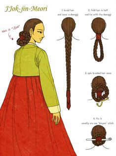 """This hairstyle is called """"Jjok-jin-meori"""" or """"Jjok-meori""""(Meori means the hair). - This hairstyle is called """"Jjok-jin-meori"""" or """"Jjok-meori""""(Meori means the hair). Traditional Hairstyle, Korean Traditional Dress, Traditional Dresses, Traditional Wedding, Korean Hanbok, Korean Dress, Korean Outfits, Korean Hairstyles Women, Asian Hair"""