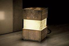 Foglizzo - Cubiko  Cubiko lamp handcrafted of shagreen, parchment, and silver by Foglizzo, 39-11-5818728; foglizzo.com.