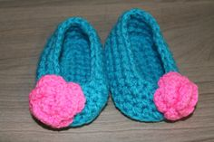 Crochet Bright Blue with Pink Flower Baby by MucaBoutiqueVanCity, $16.00