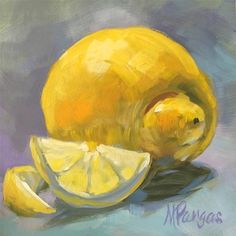 "Daily Paintworks - ""Snubnosed Lemon with Smile"" - Original Fine Art for Sale - © Mary Pargas"