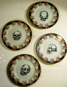 drawing with ceramic paint on vintage plates #skullsnroses #vintage