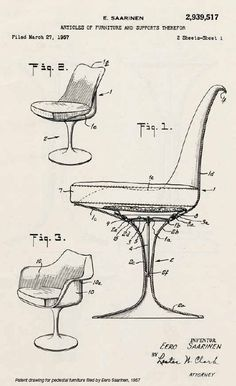 patent drawing for pedestal furniture filed by Saarinen, 1957
