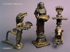 Bronze lamps from Southern India. Indian Civilisation, 19th century.