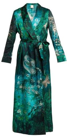 cdb3ab977f Morpho + Luna - Bianca Sirens Print Silk Satin Robe - Womens - Green Print