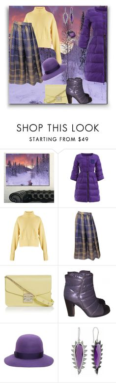 """Purple 💜"" by georgine-d ❤ liked on Polyvore featuring Design Art, Chloé, Oscar de la Renta, Furla, Chanel, Borsalino and Meghna Jewels"