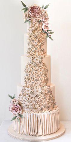 Beaded Wedding Cake, Blush Pink Wedding Cake, 5 Tier Wedding Cakes, Pink And Gold Wedding, Blush Pink Weddings, Elegant Wedding Cakes, Beautiful Wedding Cakes, Wedding Cake Designs, Beautiful Cakes
