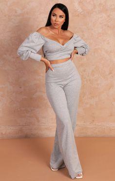 Gray Marl Off the Shoulder Plunge Wide Leg Loungewear Set - Adelaide | Femme Luxe UK 2021 Loungewear Set, Wide Leg Trousers, Bardot, Off The Shoulder, Lounge Wear, Crop Tops, Grey, Dresses, Blog