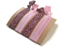 Elastic Hair Ties Pink and Brown Damask Yoga Hair Bands #pink #brown #damask #hairties #hairbands #nocrease #armcandy #girly #accessories