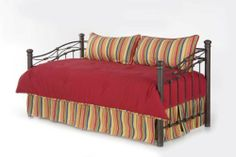 "4pc Southern Textiles Camp 18330 Red Multi Color Rainbow Daybed Comforter Cover Bedding Set by Southern Textiles. $89.95. Comforter (Twin Size - 62"" x 91"") - As photographed with over 16 ounces of hand-packed bonded fiberf. Pillow Shams - Includes 2 KING pillow shams (20"" x 36""), as photographed. Learn more]:popup=http://. Twin Bedskirt (Twin Size with a 15"" Drop) - As photographed. The bedskirt has split corners to fit o. Whether your daybed is wood, metal, wicker or a co..."