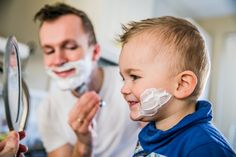 Father and son shaving!! So adorable!
