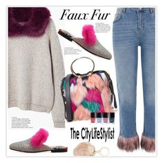 """""""Faux Fur"""" by stranjakivana ❤ liked on Polyvore featuring MANGO, River Island, Milly, Claudie Pierlot, fauxfur and polyvoreeditorial"""