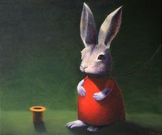 Michael Sowa - Rabbit in red ✖️FOSTERGINGER AT PINTEREST ✖️ 感謝 / 谢谢 / Teşekkürler / благодаря / BEDANKT / VIELEN DANK / GRACIAS / THANKS : TO MY 10,000 FOLLOWERS✖️