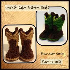 Newborn Western crochet boots Brown, Camo or John Deere on Etsy, $20.00