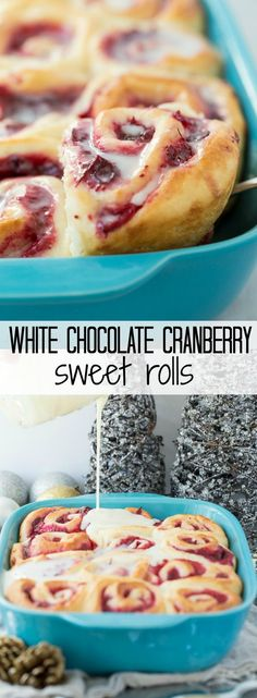 Soft, homemade bun dough filled with easy homemade cranberry filling (or sub store bought), topped with a white chocolate glaze -- perfect for Christmas brunch or a make ahead weekend breakfast!