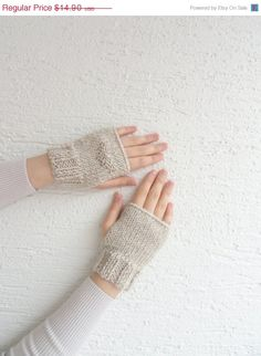ON SALE Knit Beige Women's Gloves / Fingerless by LedaDesign