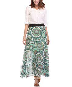 Look at this #zulilyfind! Olive Abstract Maxi Skirt - Plus #zulilyfinds