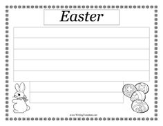 Perfect for Sunday schools, daycares and elementary school children, this free, printable writing template has pictures of a rabbit and a decorated egg, along with seven large spaces for writing about Easter.