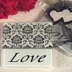 Lovely Damask and Love Glass Coasters (Cassiani Collection 907)   Buy at Wedding Favors Unlimited (http://www.weddingfavorsunlimited.com/lovely_damask_and_love_glass_coasters.html).