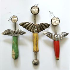 vintage melon ballers original vintage ornaments art dolls angels   by Elizabeth Rosen.