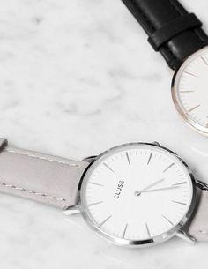 Armbanduhr mit silberfarbenem Gehäuse aus Stahl und apricotfarbenem Lederarmband. Hier entdecken und shoppen: http://sturbock.me/MGk