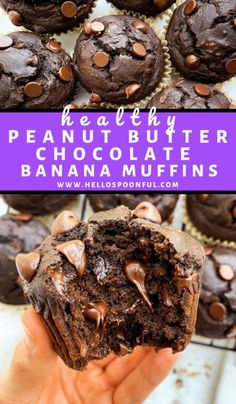 Healthy Peanut Butter Chocolate Banana Muffins are moist fluffy and the perfect amount of chocolate flavor! Made with whole wheat flour apple sauce greek yogurt and peanut butter enjoy these healthy muffins for breakfast dessert or a snack. Healthy Sweet Snacks, Healthy Sweets, Healthy Dessert Recipes, Healthy Baking, Healthy Food, Healthy Desserts With Bananas, Health Desserts, Healthy Chocolate Desserts, Snacks With Bananas