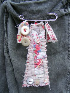 Handmade Brooch Textures and stitch. $38.00, via Etsy.