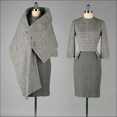Vintage 1950s Dress . MR BLACKWELL . Wool . Asymmetrical Matching Cape