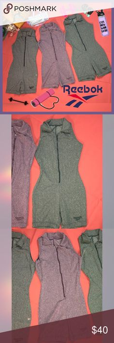 Vintage Reebok CrossFit Romper - Unitard Lot Set of three NWOTS Reebok athletic one piece CrossFit yoga romper unitard shorts. Three altogether gray, purple and green.. size small 13 inch bust..28 inches in length 5 inch inseam. New without tags. Originally had the tags but washed and air dried so tags had to come off. Never have been worn..but where in storage..after thorough cleaning they look awesome and in excellent condition ..very rare couldn't find any on the Internet! Reebok Other