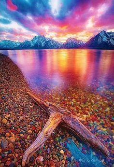 Mountain and lake sunset
