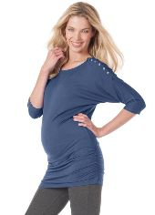 Queen Bee Saskia Maternity/Nursing Top in Steel Blue by Seraphine