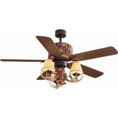 Rustic ceiling fans lighting from castantlers decorati hampton bay lodge 52 in nutmeg ceiling fan aloadofball Image collections
