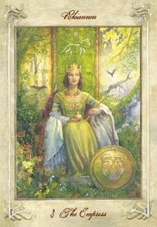 """The Empress Llewellyn Tarot-""""A kind, capable woman. One who instills confidence in others. A beneficial influence. A strong role model. A woman who promotes and encourages the potential of those around her. A peacemaker and diplomat. An intelligent, calm, mature personality. Determination and dignity. One who teaches by example. A nurturing, considerate person who gives much to the community. Confidence. Empathy. A matriarch. Guidance and support."""""""