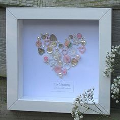 Personalized Button Heart. Very sweet!
