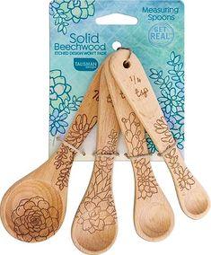 Succulent Measuring Spoons – Talisman Designs Talisman, Wood Source, Prep Kitchen, Glass Candlesticks, Cookie Designs, Measuring Spoons, Natural Oils, The Help, Succulents
