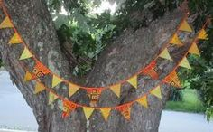 Bunting orange and green