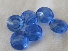 Set of 6 Small VINTAGE Faceted Blue Glass Jewel BUTTONS by abandc
