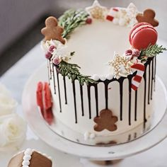 Thinking about this drip cake we served at our Christmas party last weekend Made by the talented @ledolci #christmascake #dripcake #dessert #festive