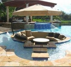 Underground lounge in the pool