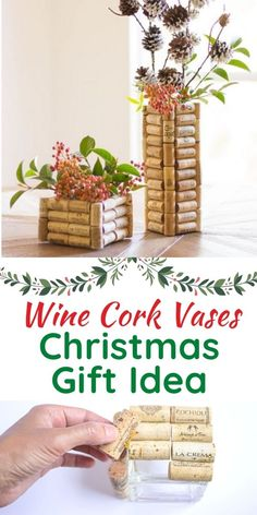 Make these wine cork vases with corks you've saved and thrift store vases. A thrifty DIY project that makes a great homemade Christmas gift!
