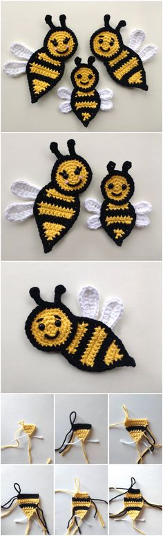 Crochet Bee Family Applique : Crochet Bee Family Applique As we know with cute appliques we can make our clothing more beautiful and attractive. You can also make happy your children and crochet some appliques for her hats and school bags. Crochet Bee, Crochet Gifts, Cute Crochet, Crochet Motif, Crochet Toys, Crochet Stitches, Crochet Appliques, Crochet Flower Patterns, Baby Knitting Patterns