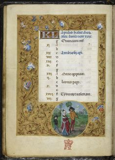 Calendar page for April, with a roundel miniature of an aristocratic couple courting. The themes of fertility, birth, and rebirth are emphasised by the flowering branch being carried by the ardent young man, and by the small child following the couple -