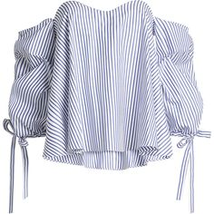 Caroline Constas Off-Shoulder Cotton Blouse (49775 DZD) ❤ liked on Polyvore featuring tops, blouses, stripes, white off the shoulder top, off shoulder blouse, white tops, cotton blouse and striped blouse
