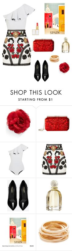 """Spain"" by vickiecookie ❤ liked on Polyvore featuring Cara, Oscar de la Renta, Lisa Marie Fernandez, Dolce&Gabbana, Yves Saint Laurent, Balenciaga, Kenneth Jay Lane and Tom Ford"