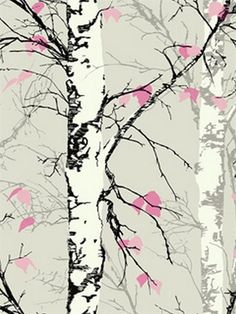 Pink Birch Trees with Leaves Wallpaper, SBK26873