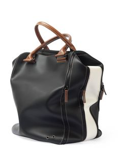 Bag 2.0 • 3 expansion • Black / White  29 x 37 x 20 (cm) • leather & rubberize canvas  MADE IN ITALY $210